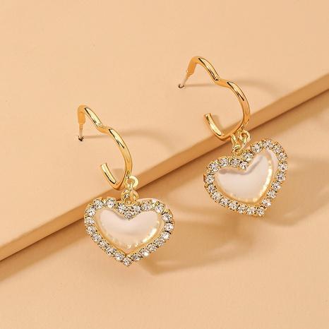 Boucles d'oreilles coréennes avec strass et perles coeur NHNJ321432's discount tags