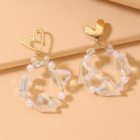 Korean heart-shaped crystal pearl earrings  NHNJ321434's discount tags