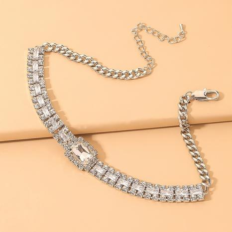 collier géométrique carré en diamant à la mode NHNJ321441's discount tags
