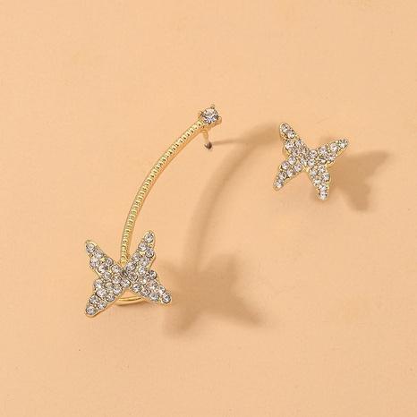 Pendientes asimétricos de mariposa coreana NHNJ321442's discount tags