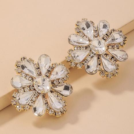retro lleno de pendientes de flores de diamantes de imitación NHNJ321446's discount tags