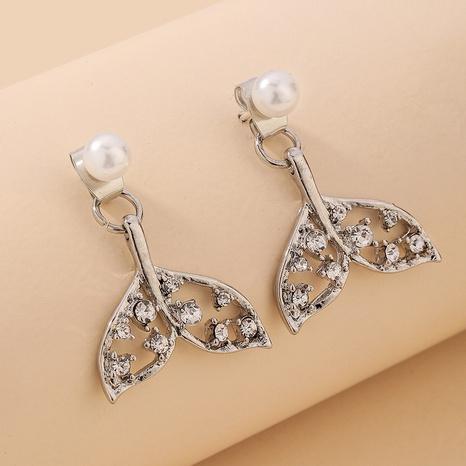 inlaid rhinestone mermaid tail pearl earrings  NHNJ321450's discount tags