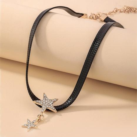 collier de strass étoile en cuir noir à la mode NHNJ321451's discount tags