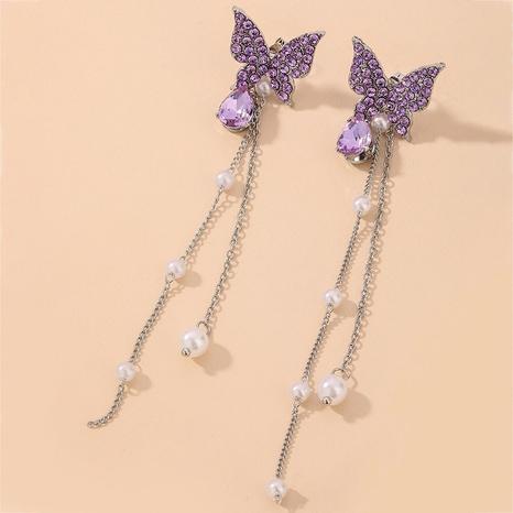 Pendientes de borla de perlas de mariposa de diamantes de imitación coreanos NHNJ321452's discount tags
