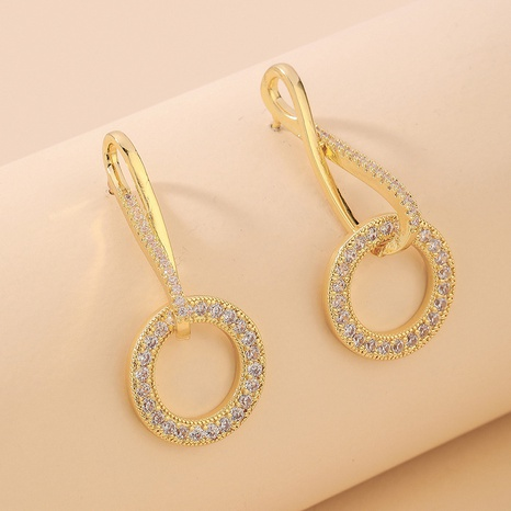 retro baroque geometric circle diamond earrings  NHNJ321455's discount tags