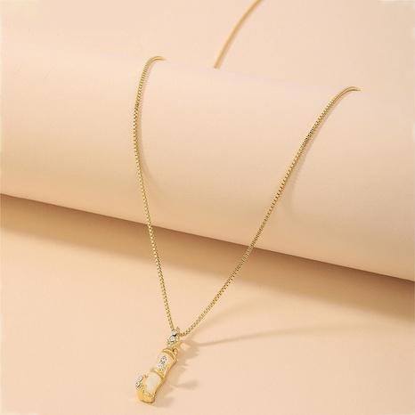 collier pendentif en bambou en acier titane créatif NHNJ321457's discount tags