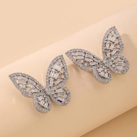 Korean butterfly zircon earrings  NHNJ321460's discount tags