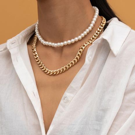 collier punk géométrique creux simple imitation perle NHXR321488's discount tags