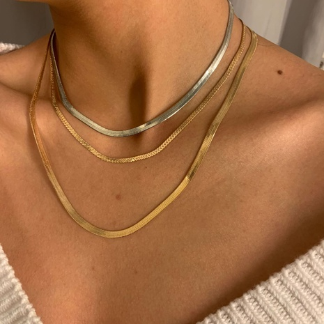 simple multi-layer snake chain geometric necklace NHXR321489's discount tags