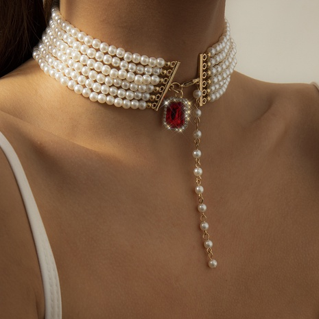 collier de perles rondes baroques à la mode NHXR321507's discount tags