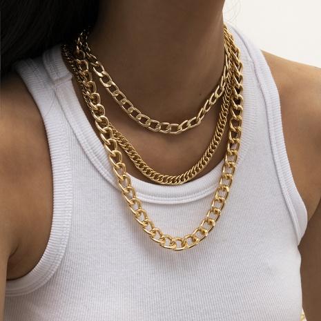 collier à pampilles à chaîne multicouche géométrique simple NHXR321514's discount tags