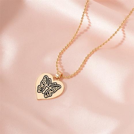 Collier en alliage coréen papillon en forme de coeur NHAI321527's discount tags