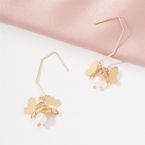 Boucles d'oreilles coréennes de perles de papillon creux NHAI321539's discount tags