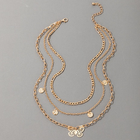 Simple Butterfly 3 Layer Alloy Necklace NHGY321547's discount tags