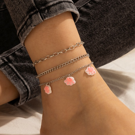 Cute Cat Claw Multilayer Anklet 3 Piece Set NHGY321555's discount tags