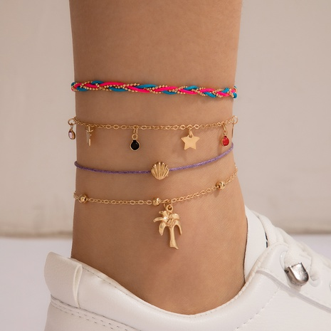 Fashion Star Coconut Anklet 4-Piece Set NHGY321560's discount tags