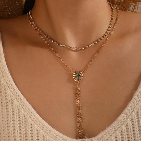 nouveau collier multicouche simple pendentif fleur creuse NHGY321564's discount tags