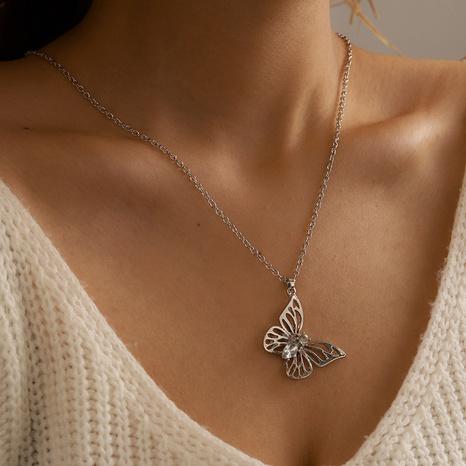 Collar de plata de una sola capa con mariposa simple NHGY321565's discount tags