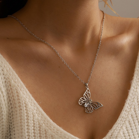Collier en argent simple couche papillon simple NHGY321565's discount tags