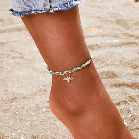 simple color braided rope bee anklet NHGY321569's discount tags