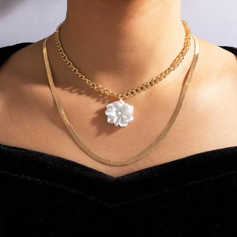 Collier en alliage multicouche simple fleur blanche NHGY321552's discount tags