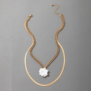 Simple White Flower Multilayer Alloy Necklace NHGY321552