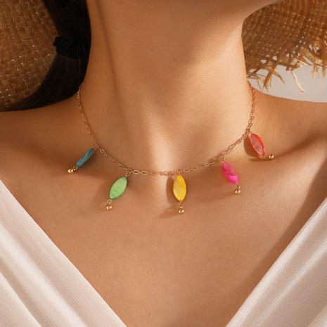 collier simple couche à pampilles colorées NHGY321572's discount tags
