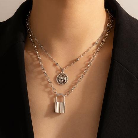 collier multicouche à pendentif éléphant punk NHGY321573's discount tags