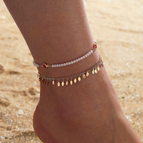 Fringed Pearl Geometric Anklet 2-Piece Set NHGY321575's discount tags
