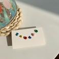 NHNJ1482132-Silver-Needle-Colorful-Geometric-Stud-Earrings