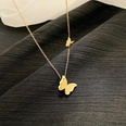 NHNJ1482109-Gold-Two-Butterflies-Titanium-Steel-Necklace