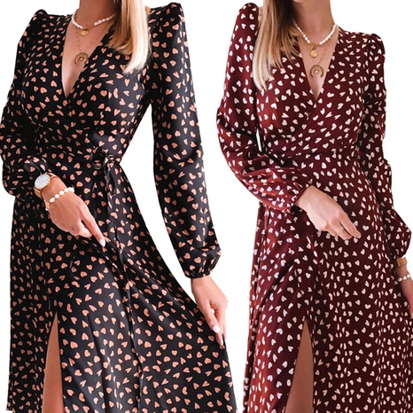 Women's sexy V-neck long-sleeved casual floral split dress NHWA322096's discount tags