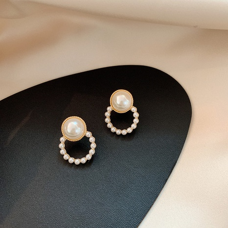 simple pearl circle earrings NHOT321634's discount tags