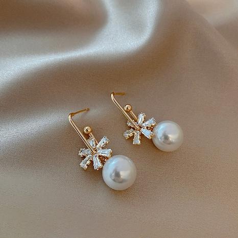 pendientes nuevos de perlas de flores retro NHOT321633's discount tags