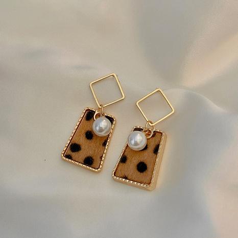 Pearl Geometric Leopard Print Earrings NHOT321632's discount tags