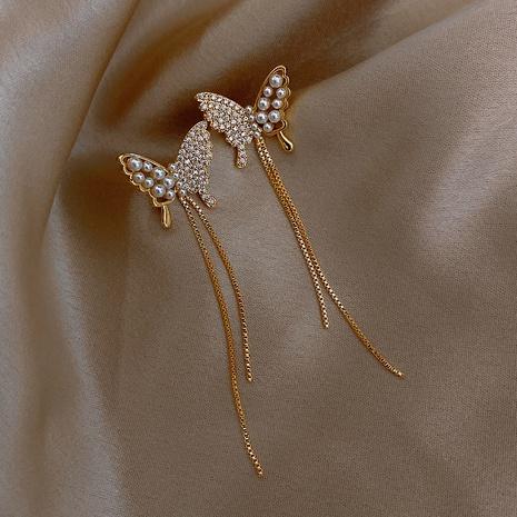 Pendientes de mariposa con borla larga de perlas de moda NHOT321630's discount tags