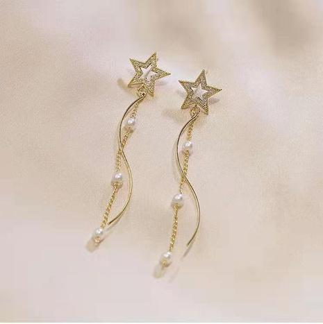 Boucles d'oreilles longues perles à pampilles étoilées à cinq branches NHOT321628's discount tags