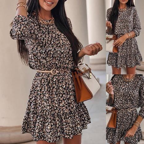 Jupe courte à volants décontractée à manches longues imprimée à la mode pour femmes NHWA322098's discount tags