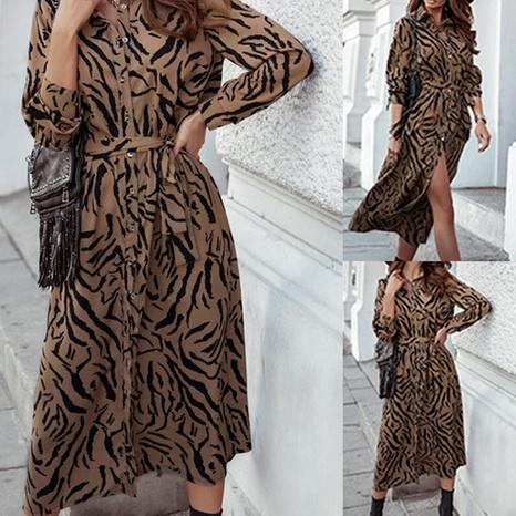 Robe fendue imprimée à la mode pour femmes à manches longues NHWA322099's discount tags