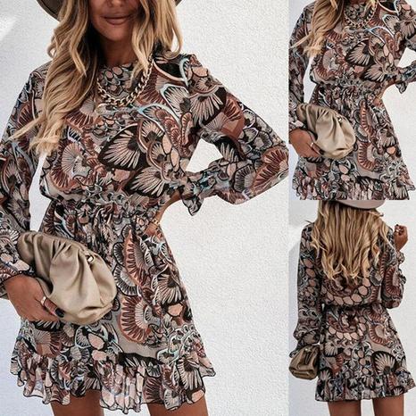 Robe courte imprimée à manches longues pour femmes NHWA322100's discount tags