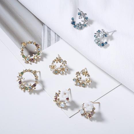 Boucles d'oreilles coréenne en forme de guirlande de fleurs en cercle dégoulinant NHQC321599's discount tags