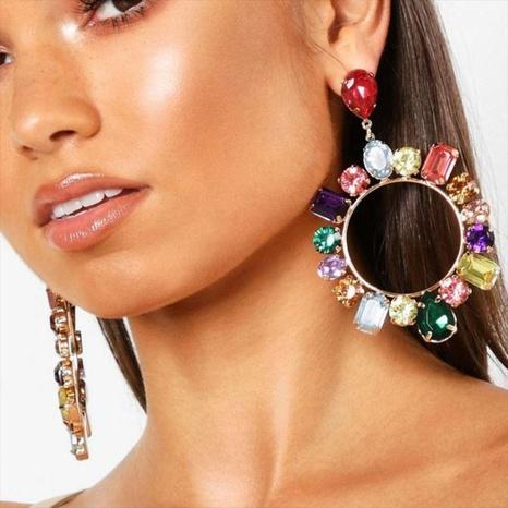 Fashion colored diamond geometric earrings NHQC321597's discount tags
