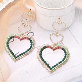 Übertriebener Herzdiamant glänzende lange Ohrringe NHQC321595