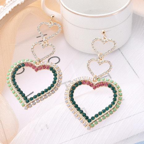 Boucles d'oreilles longues brillantes en forme de coeur exagéré NHQC321595's discount tags