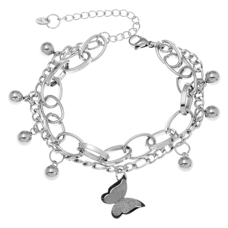 Korean simple stainless steel butterfly bracelet NHSC321100's discount tags