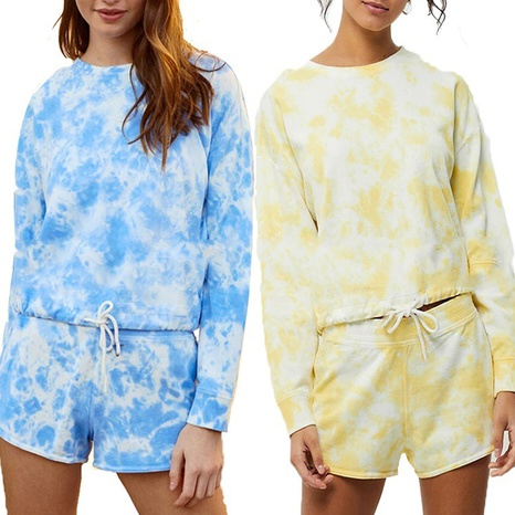 Women's fashion tie-dye round neck printing long-sleeved blouse and shorts suit NHWA322102's discount tags