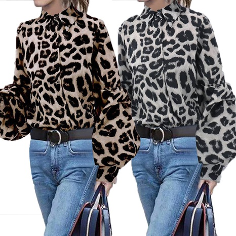 Women's fashion loose and thin leopard print long-sleeved blouses NHWA322103's discount tags