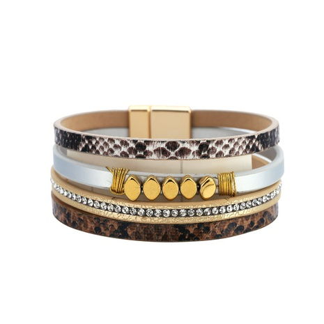 Snake pattern multi-layer leather magnetic buckle chain bracelet  NHBD330757's discount tags