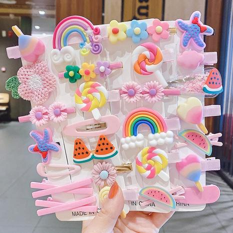 Corée enfants arc-en-dessin animé épingle à cheveux couleur bonbon 14 pièces ensemble de pinces à cheveux NHCQ330761's discount tags