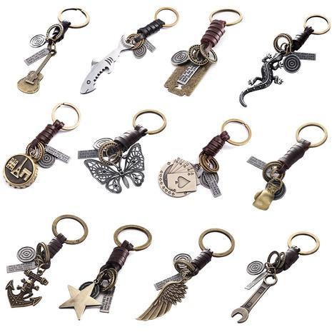 Retro-Schlüsselbund aus Rindsleder aus Giraffenlegierung NHAKJ330782's discount tags